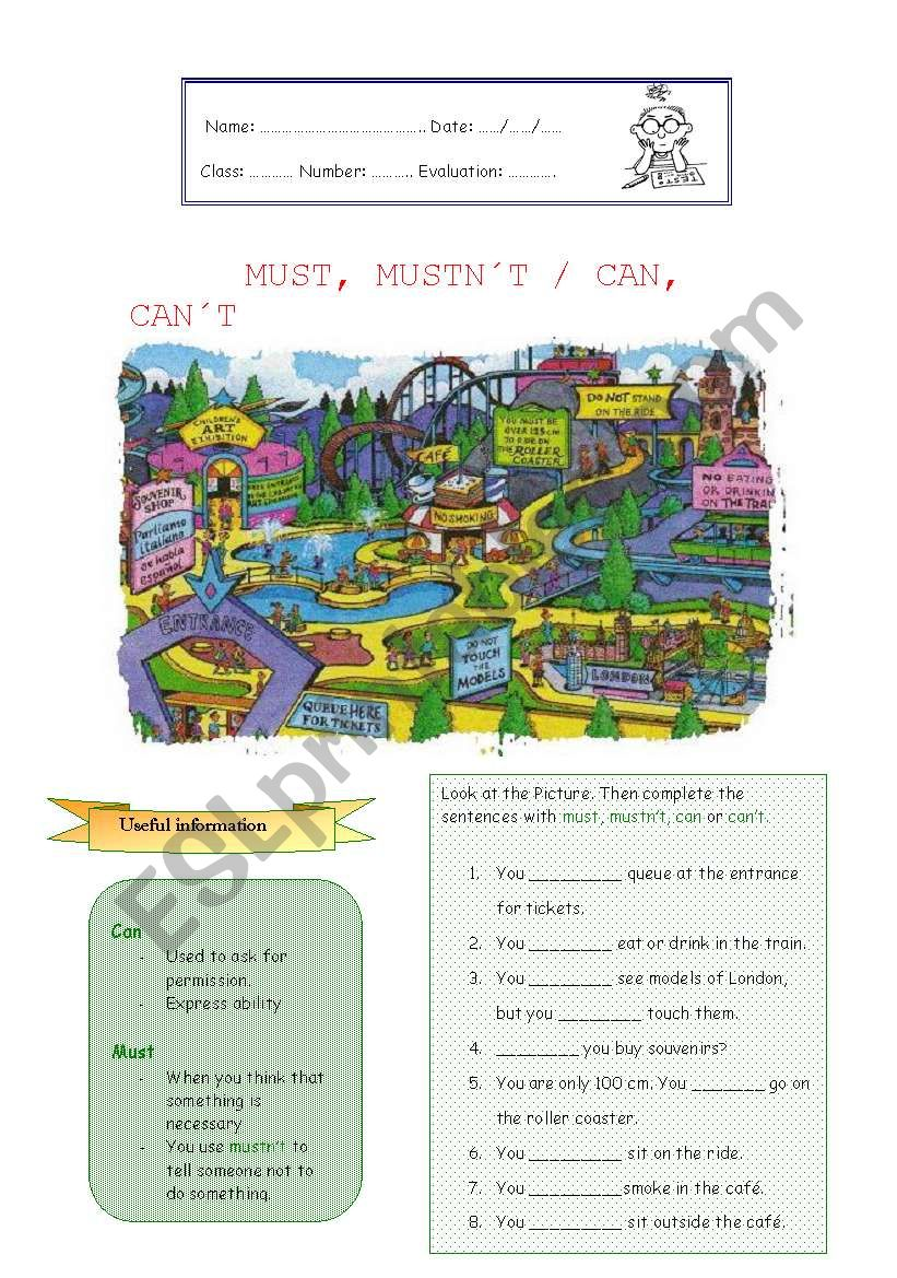 MUST, MUSTN´T / CAN, CAN´T  worksheet