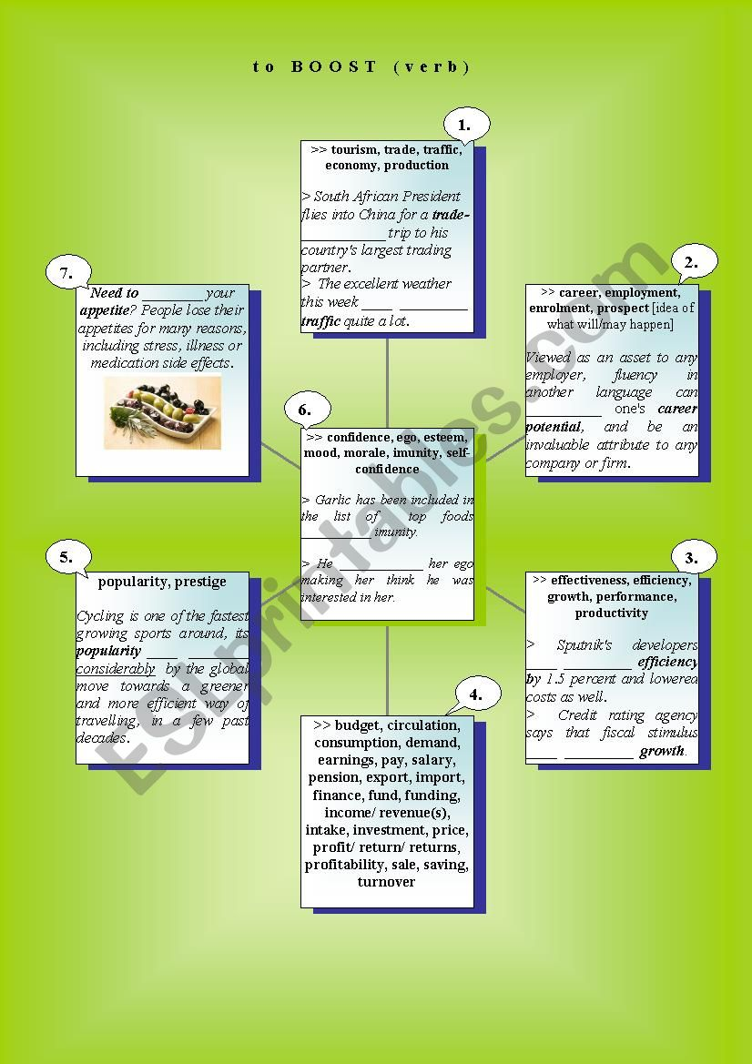 Verbs in Use: to boost worksheet