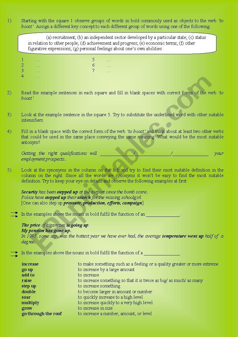 Verbs in Use: to boost - ESL worksheet by katarinkam