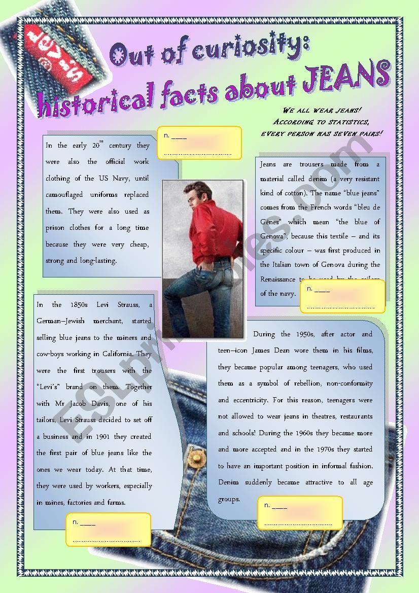 History of jeans worksheet