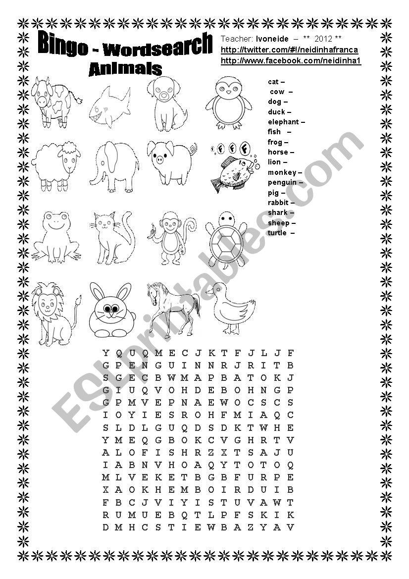 Bingo - Wordsearch - Animals worksheet
