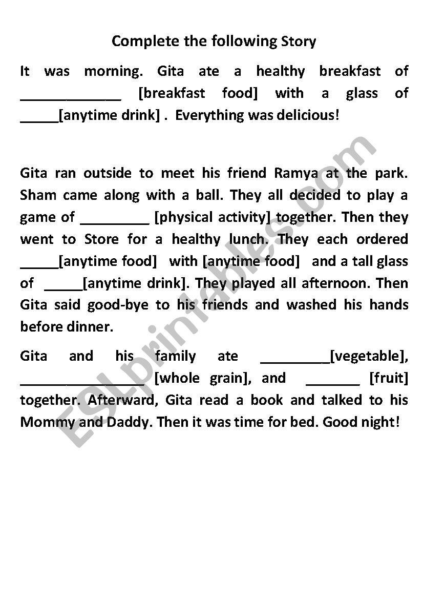 Story on Food worksheet