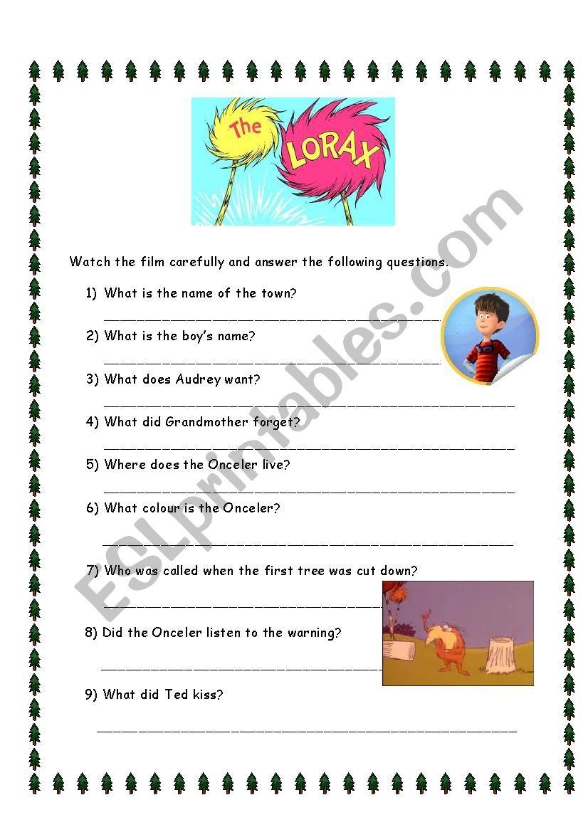English Worksheets The Lorax