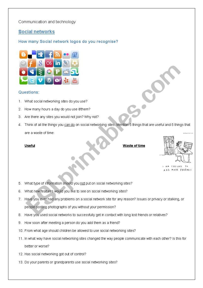 Social networks worksheet