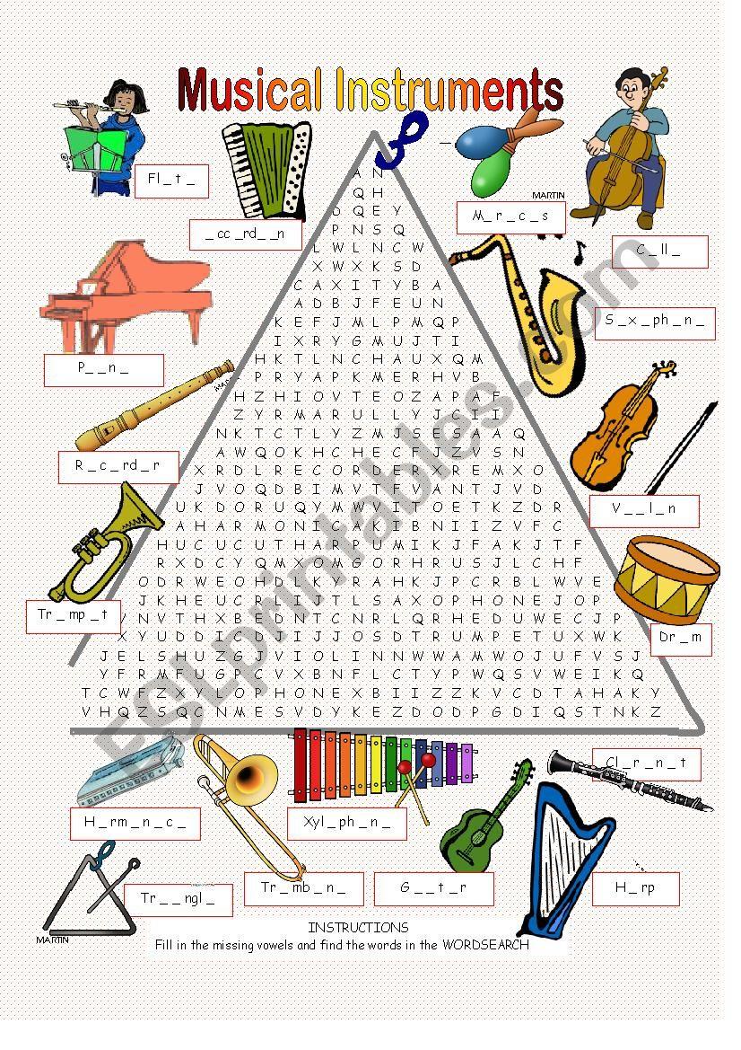 photo regarding Music Word Search Printable called Musical Tools - Wordsearch - ESL worksheet through Anna P