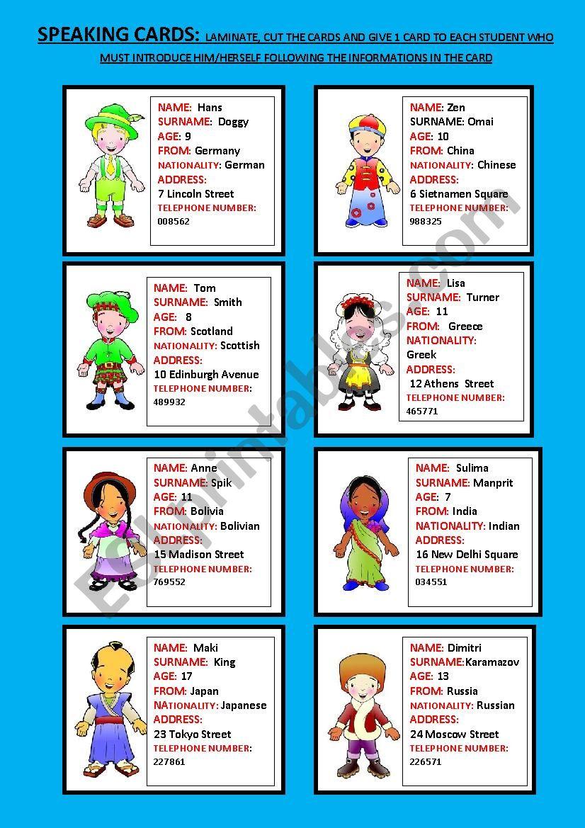speaking cards part 1 worksheet