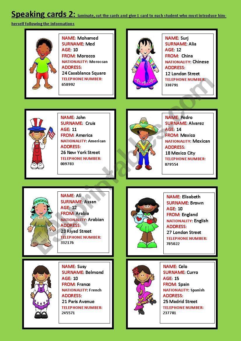 Speaking cards part 2 worksheet