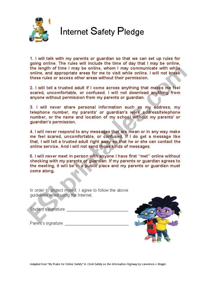 Worksheets Internet Safety Worksheets internet safety pledge esl worksheet by doroteia f worksheet