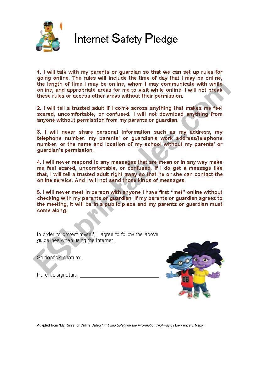 Internet Safety Pledge worksheet