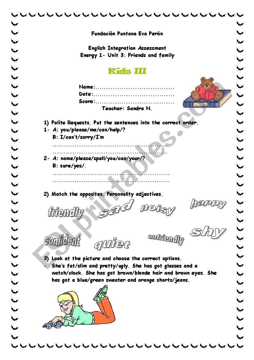 Energy 1 - Unit 3 - Family and Friends TEST - ESL worksheet ...