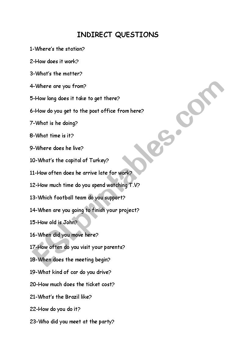Indirect Questions worksheet