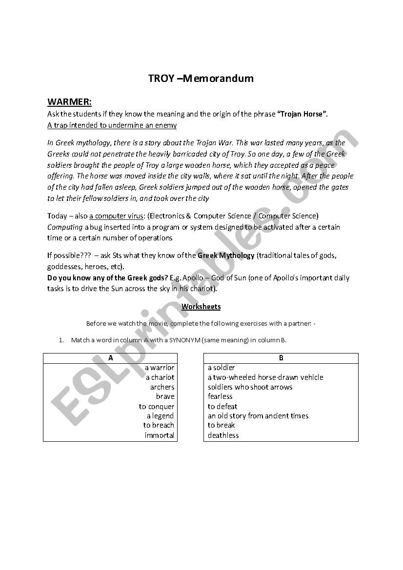 Troy movie lesson MEMO / ANSWER KEY - ESL worksheet by Amaal