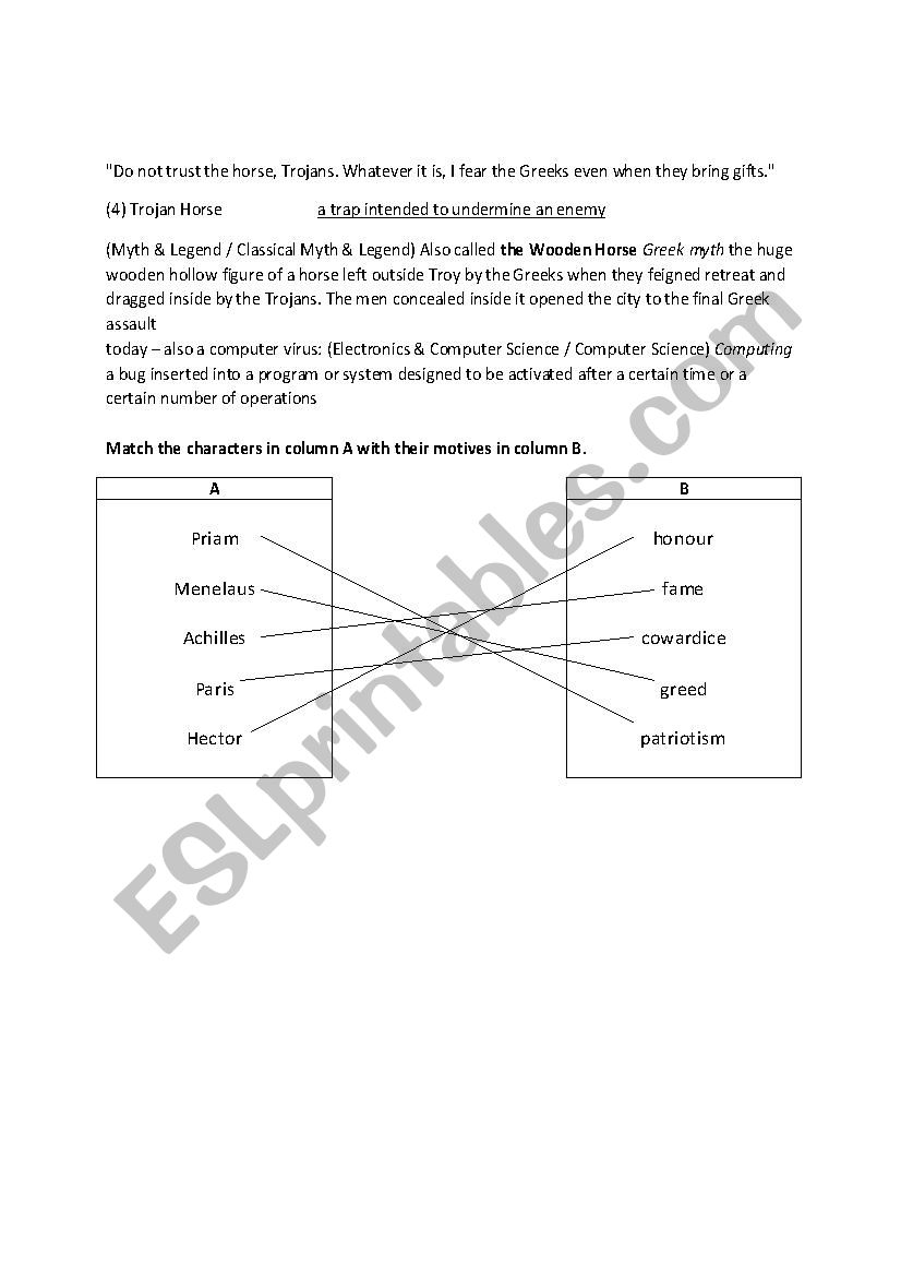 worksheet Troy Movie Worksheet english worksheets troy movie lesson memo answer key