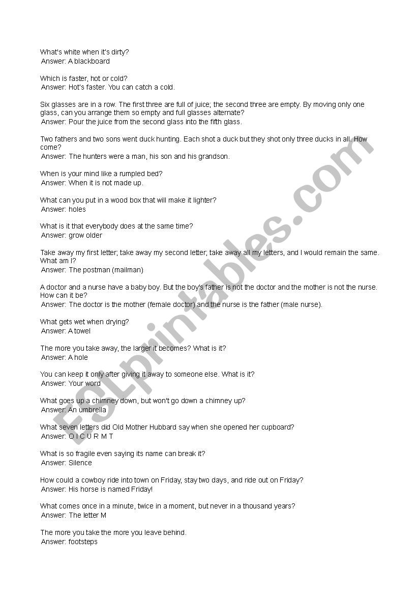riddles and answers - ESL worksheet by iamaya
