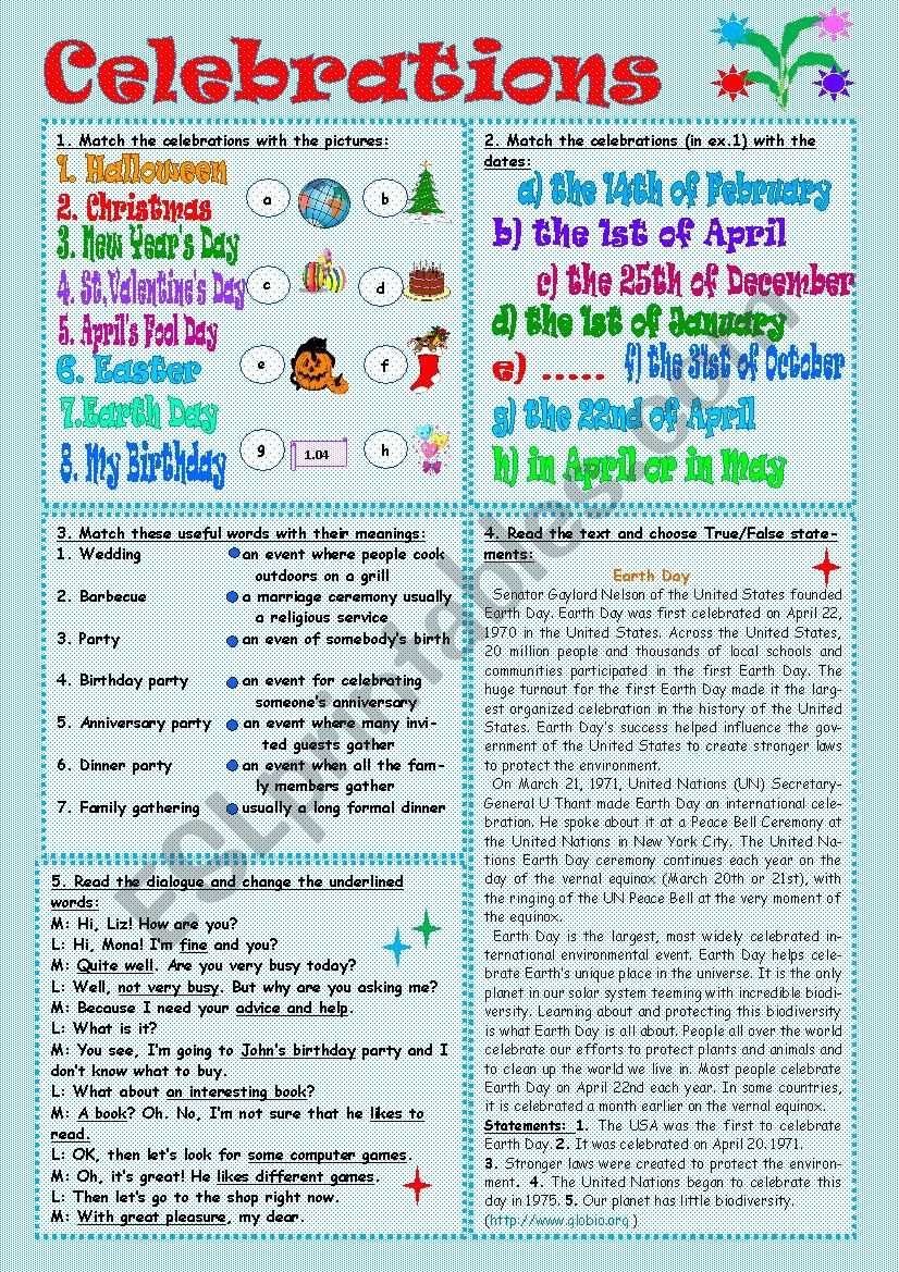 Celebrations worksheet