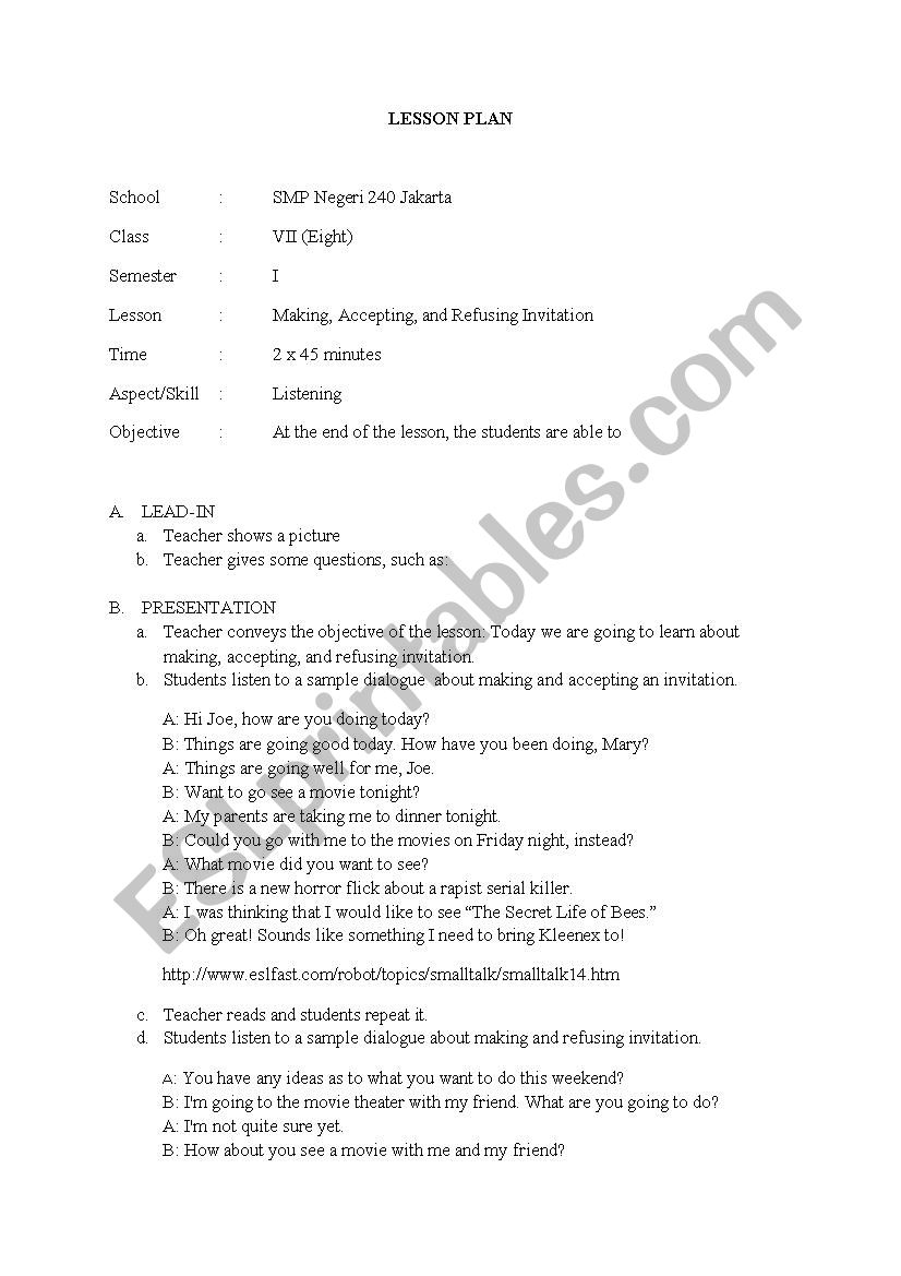 English worksheets listening about makingaccepting and refusing listening about makingaccepting and refusing an invitation stopboris Image collections