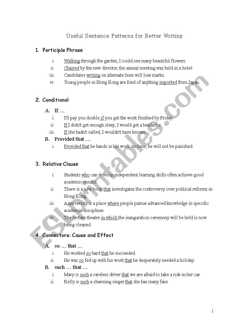 useful sentence patterns for better writing esl worksheet by netnetwing. Black Bedroom Furniture Sets. Home Design Ideas