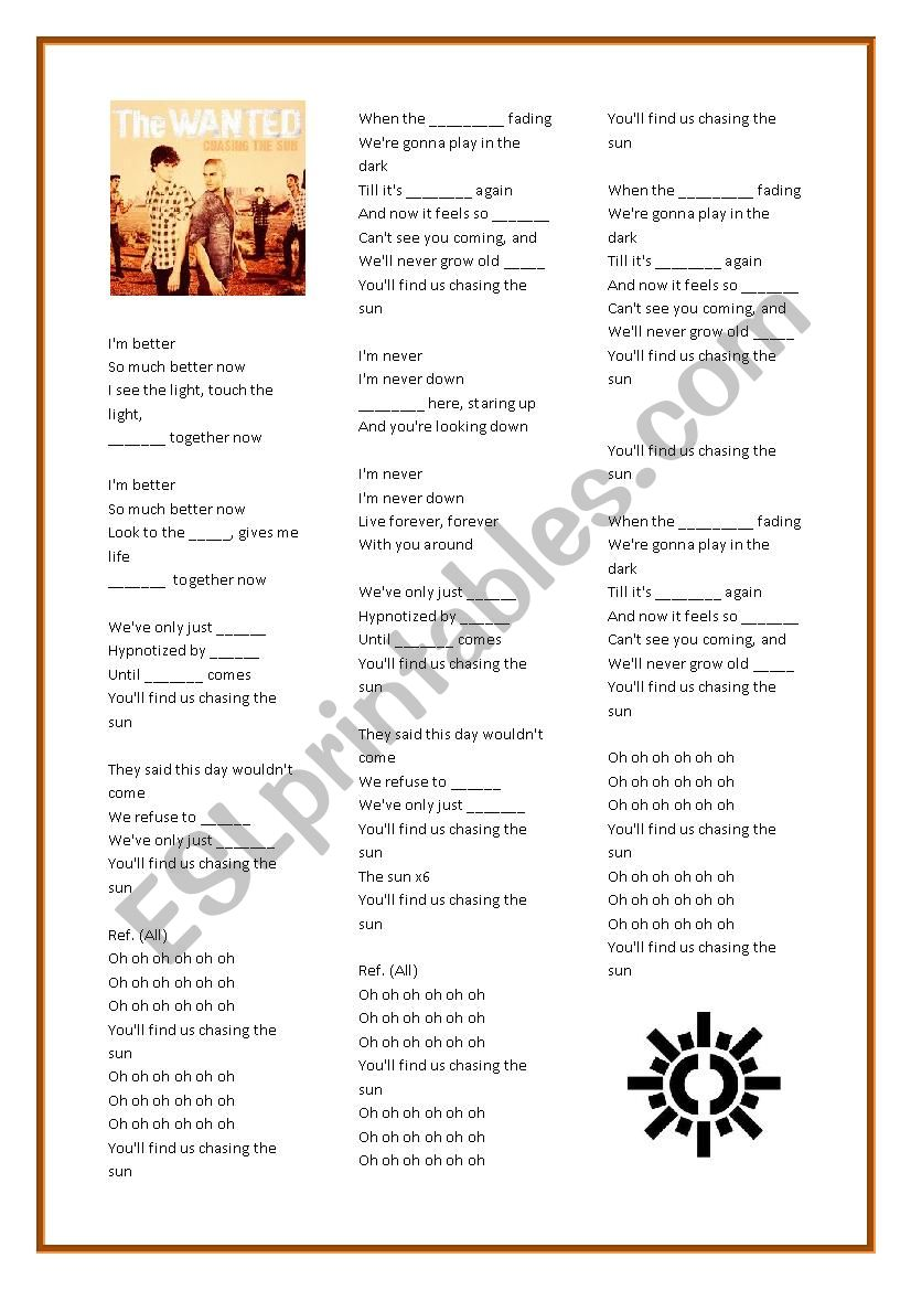 Chasing the Sun - The Wanted worksheet