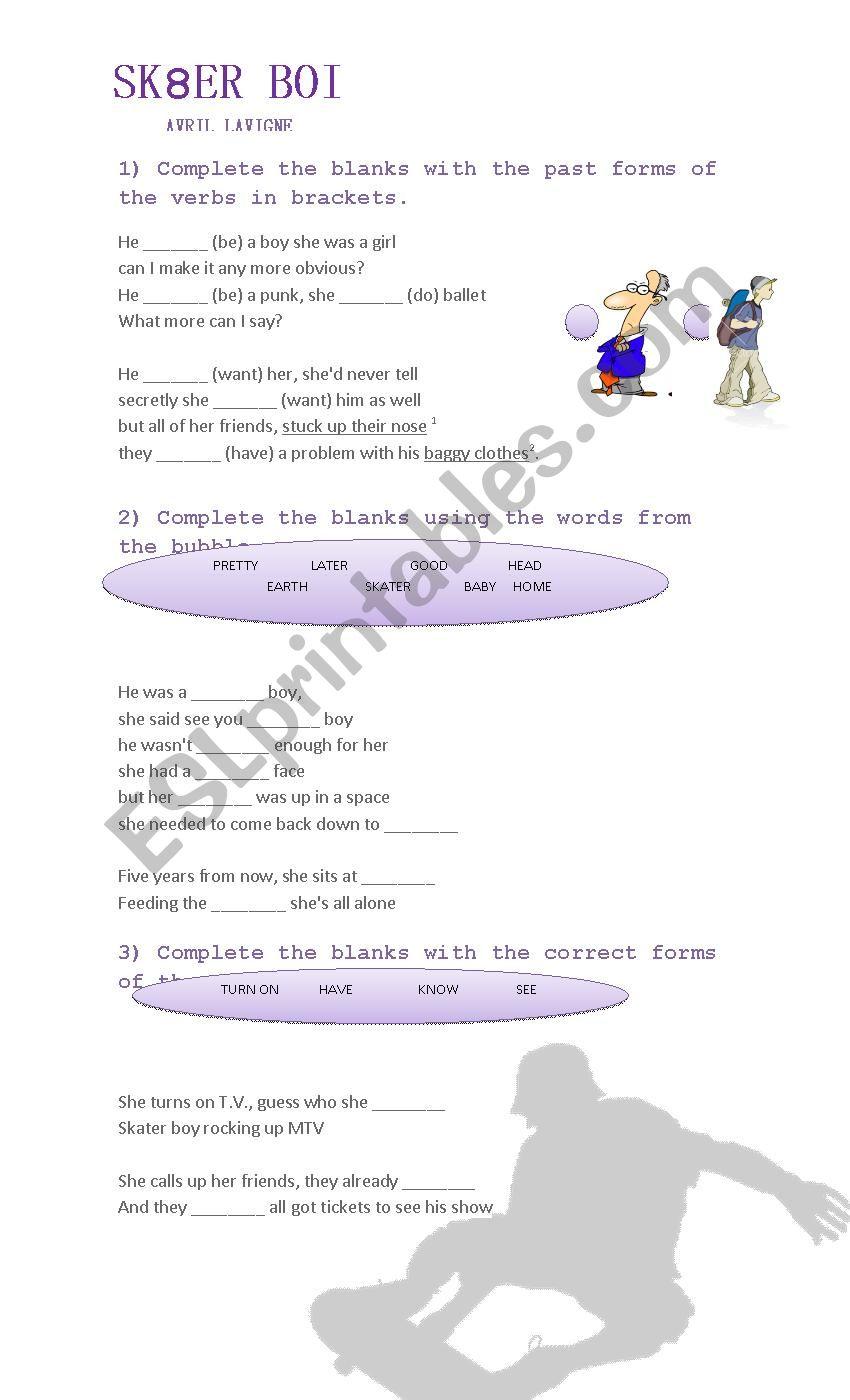 Sk8er Boy Avril Lavigne Song - ESL worksheet by Laura0112