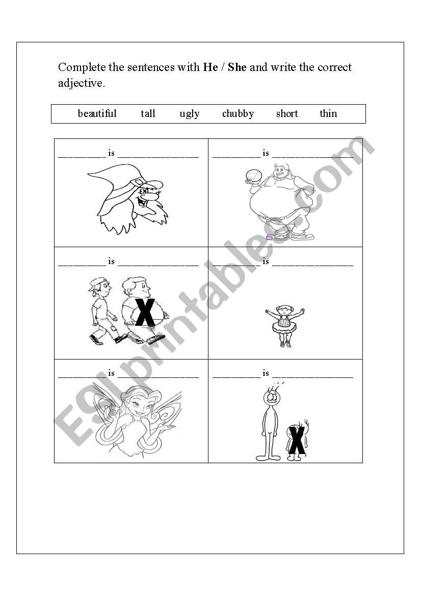 Prouns and adjectives worksheet
