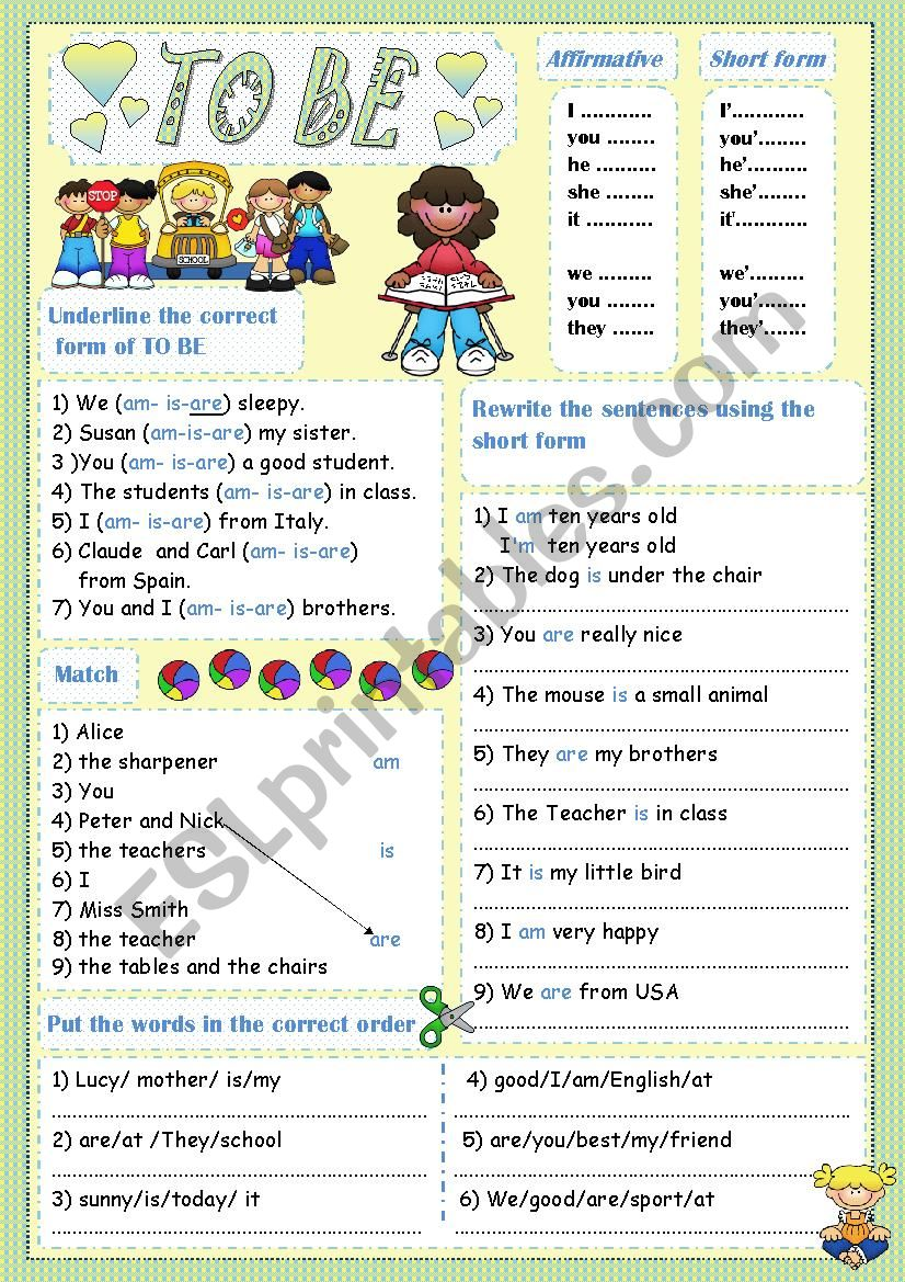 simple present (TO BE) worksheet