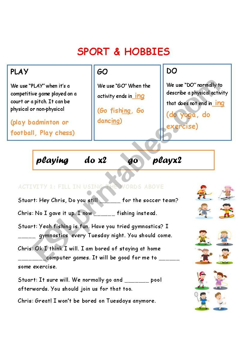 sport and hobbies