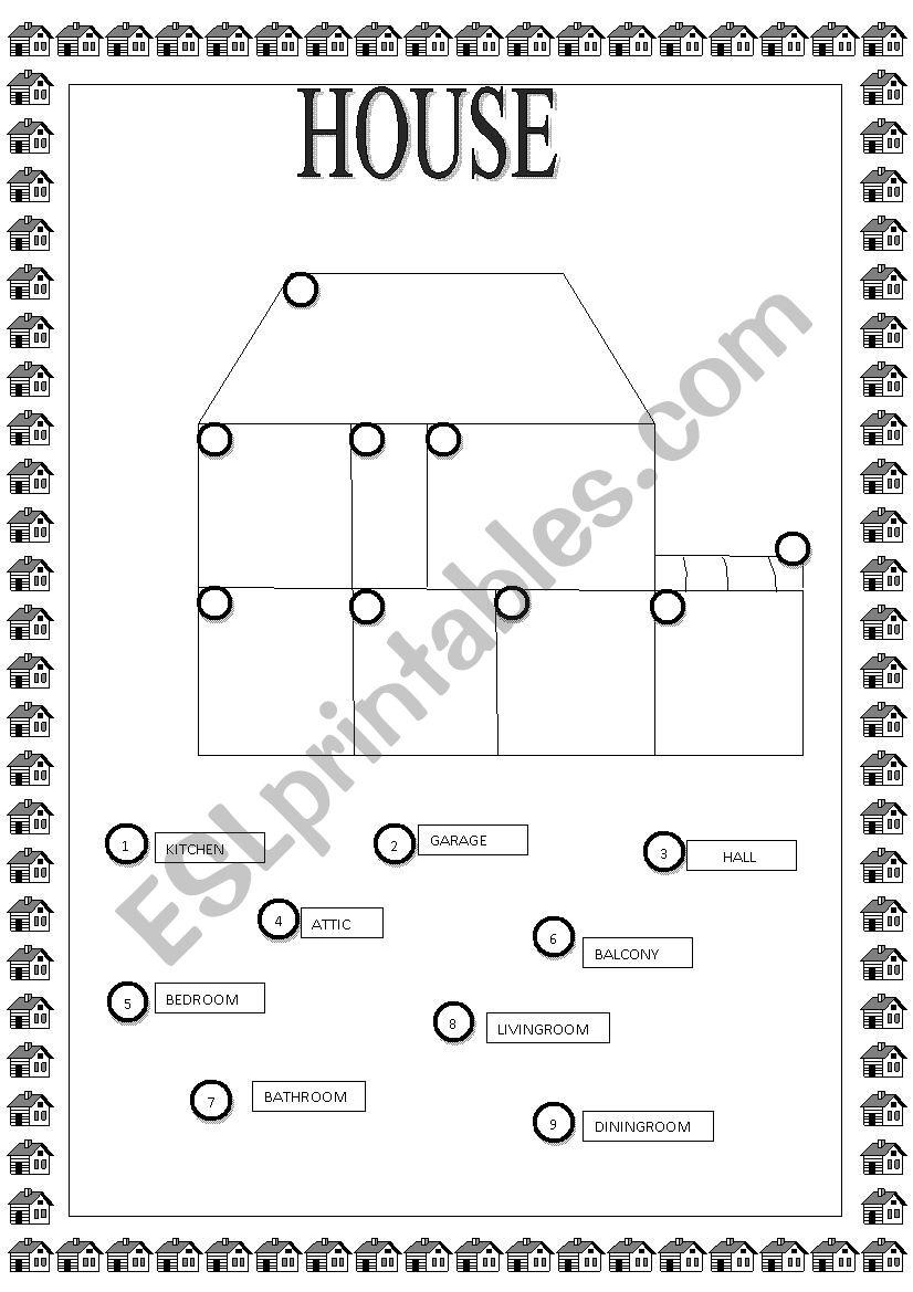 Rooms Worksheet: ESL Worksheet By Lbhspatriot