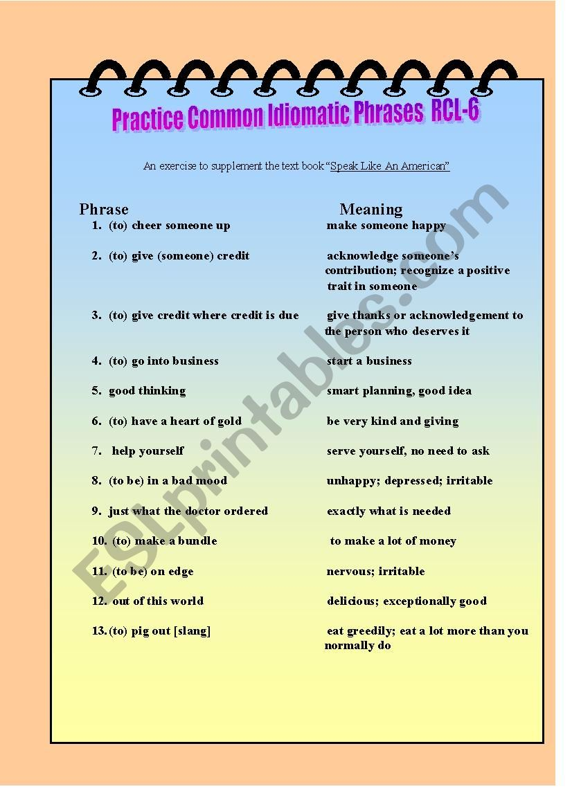 Practice Common Idomatic Phrases RCL-6