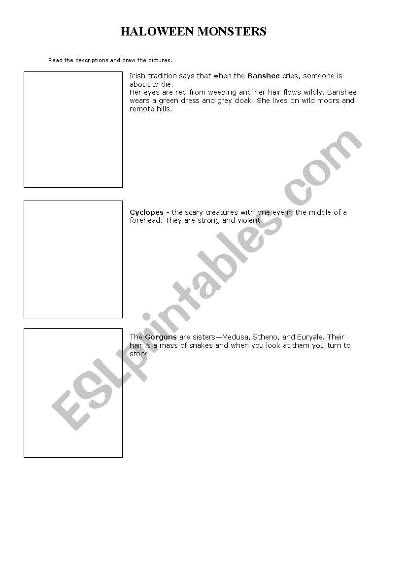 Halloween monsters - ESL worksheet by astam1