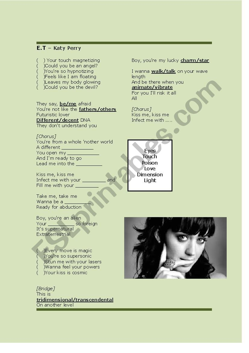 E.T - Katy Perry worksheet