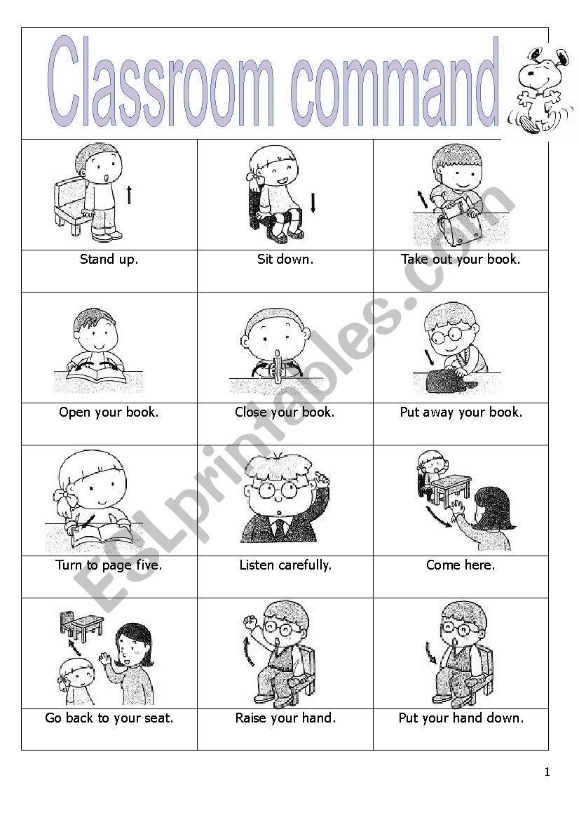 Classroom commands worksheet