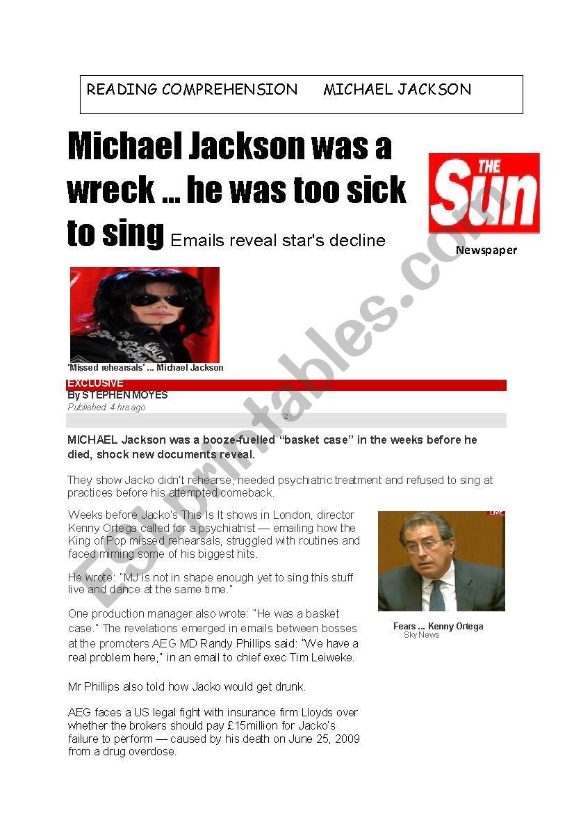 reading comprehension Michael Jackson