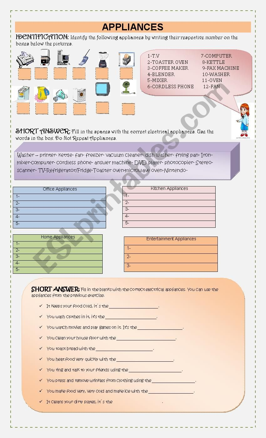 Appliances worksheet
