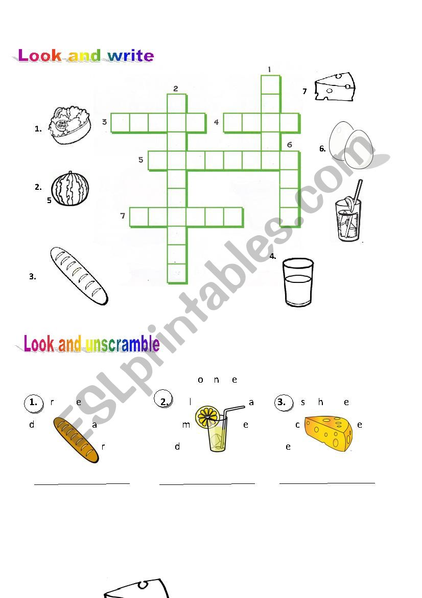 Look Write And Unscramble Food Esl Worksheet By Shirfe