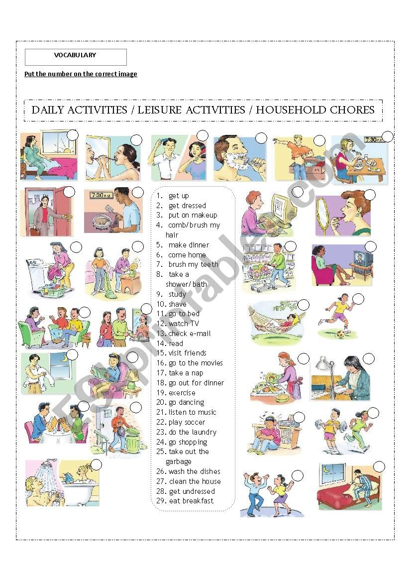 Daily activities / Leisure activities / Household chores! Editable!