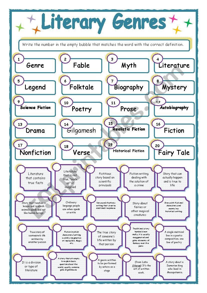 Literary Genres - ESL worksheet by allop