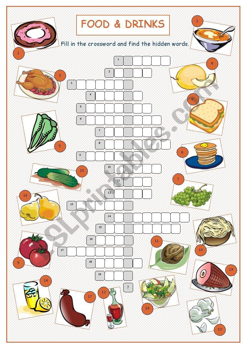 food puzzle crossword drinks worksheet crosswords worksheets