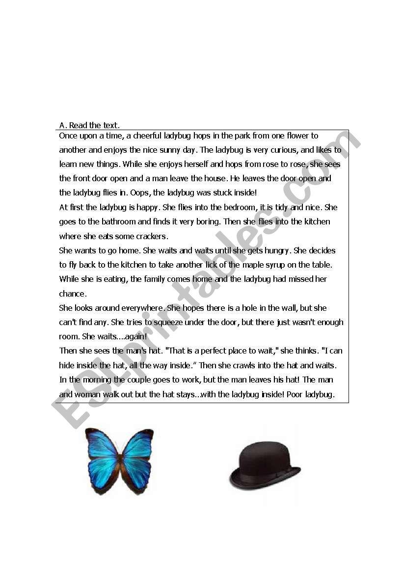 ladybug reading worksheet