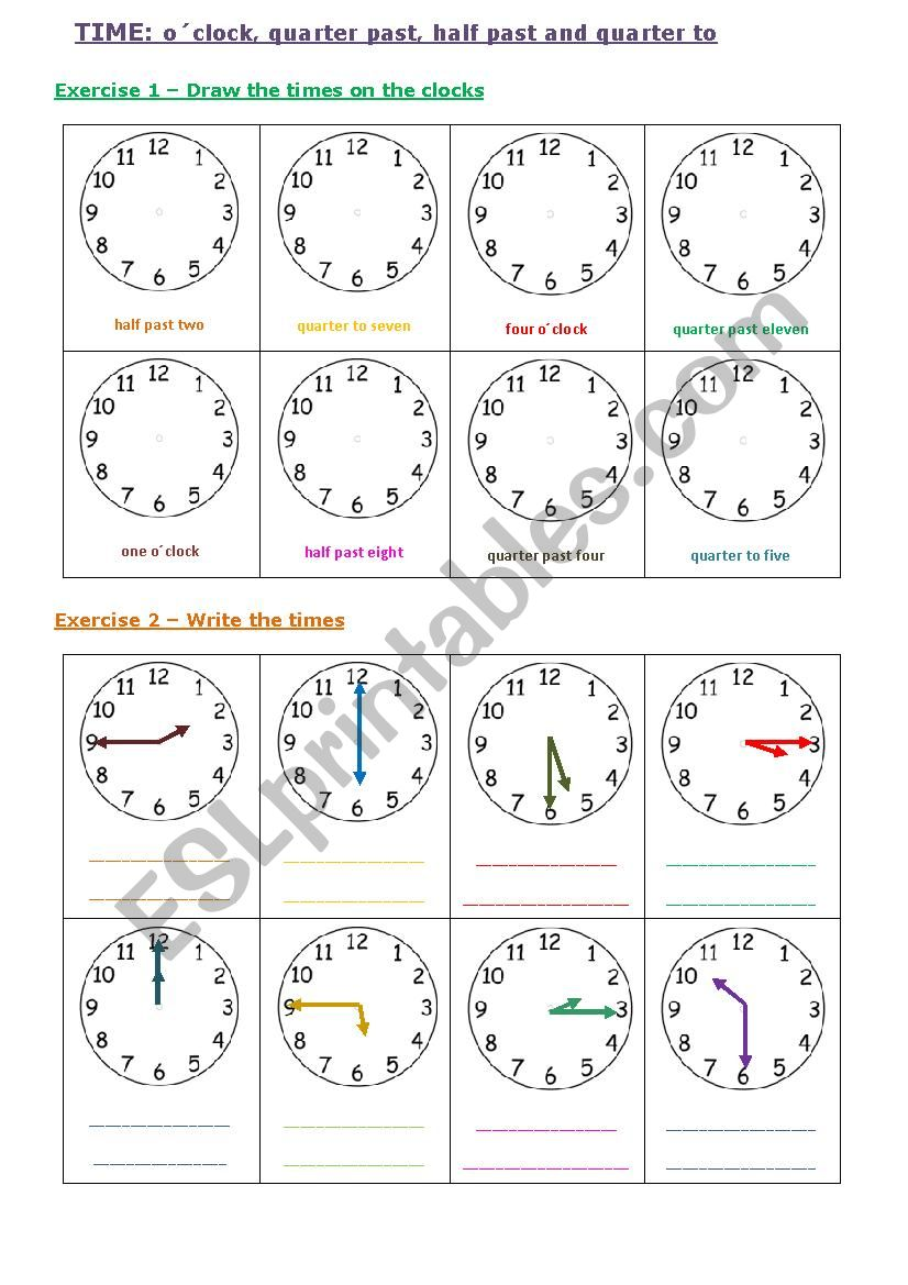 Time Oclock Quarter Pastto And Half Past Esl Worksheet By
