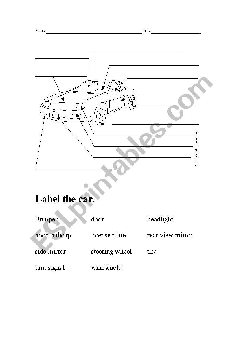English worksheets: Labeling Car parts for a Car Wash