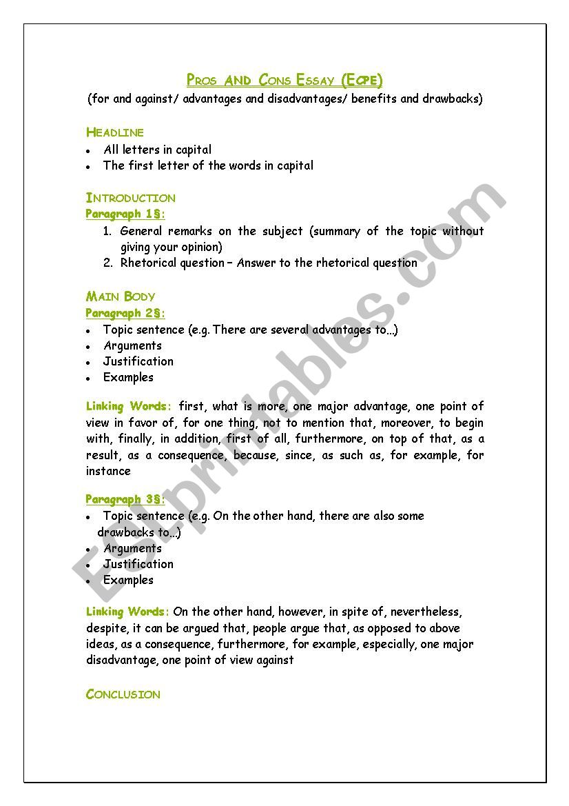 Esl pros and cons essay 2nd grade biography book report template