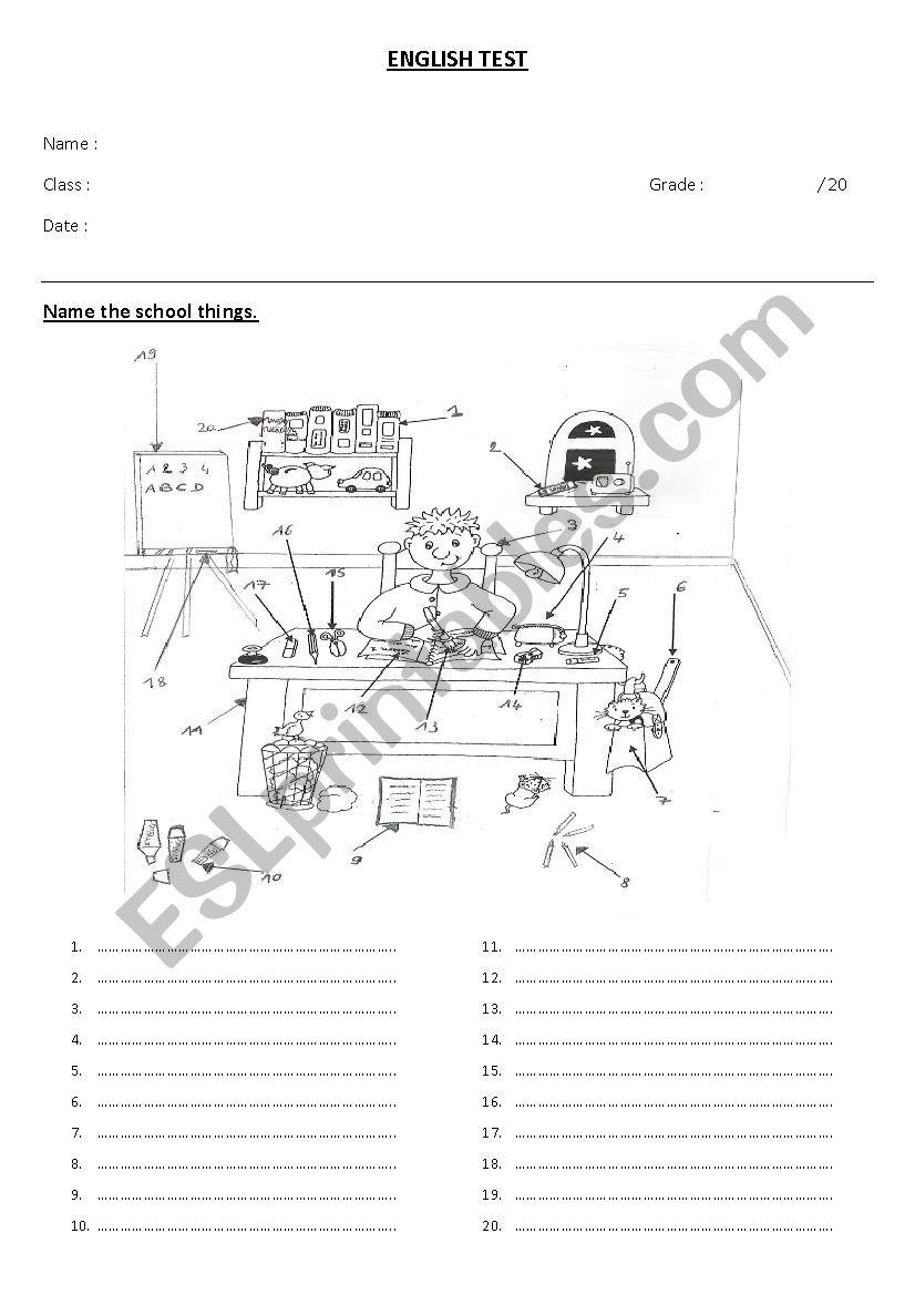School things  worksheet