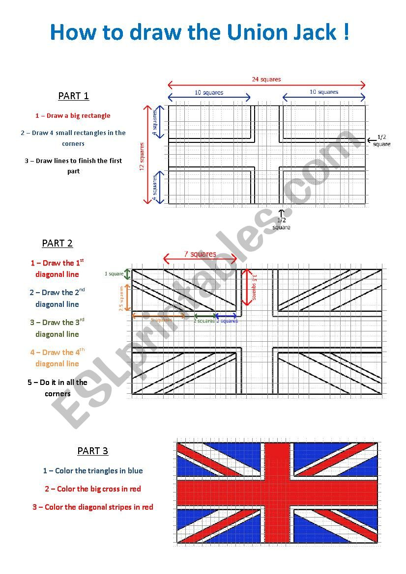 How to draw the union Jack worksheet