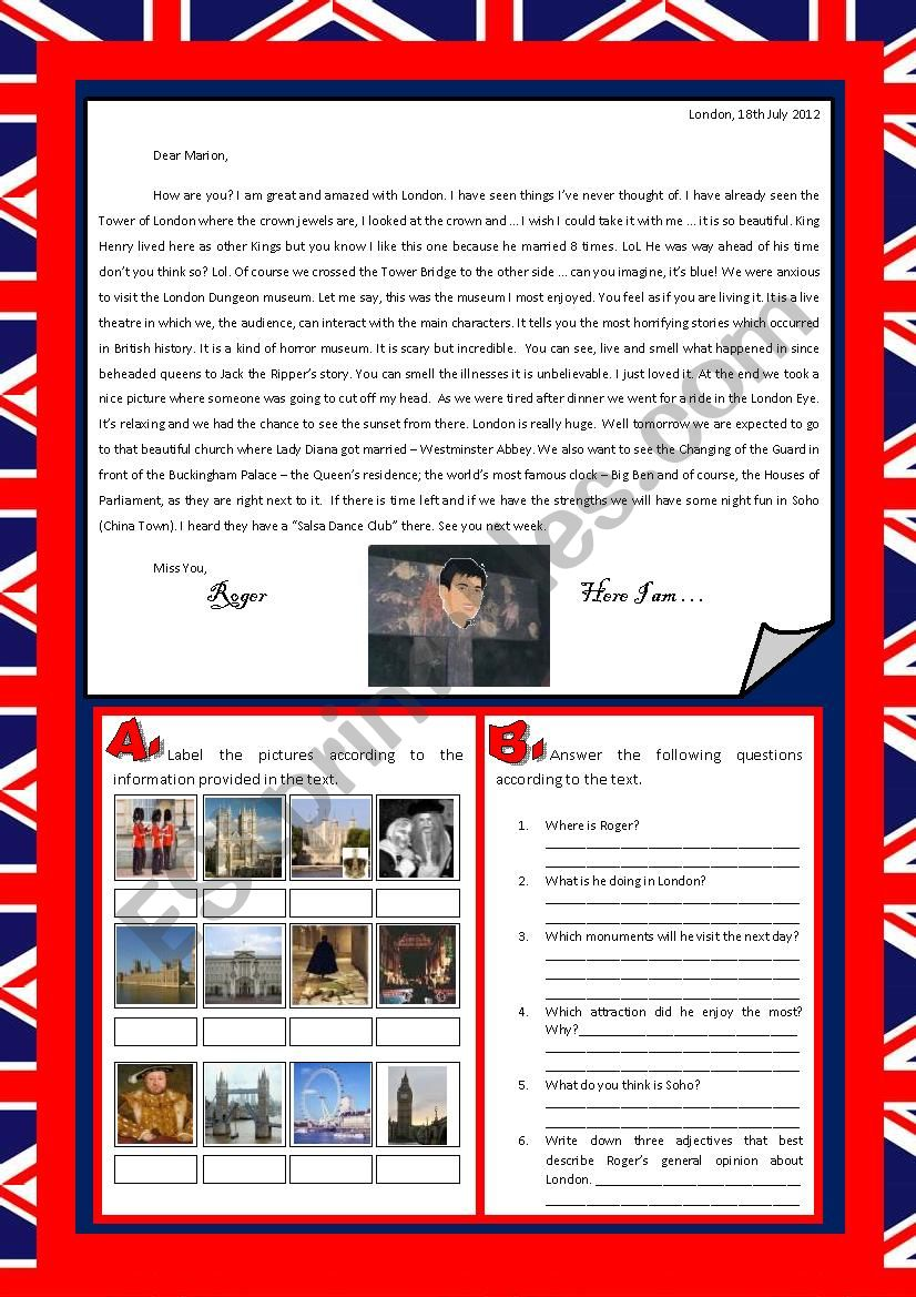 A letter from London worksheet