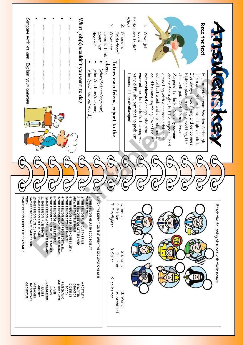 professions worksheet