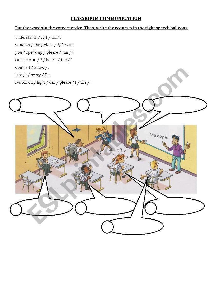 Classroom English exercise worksheet