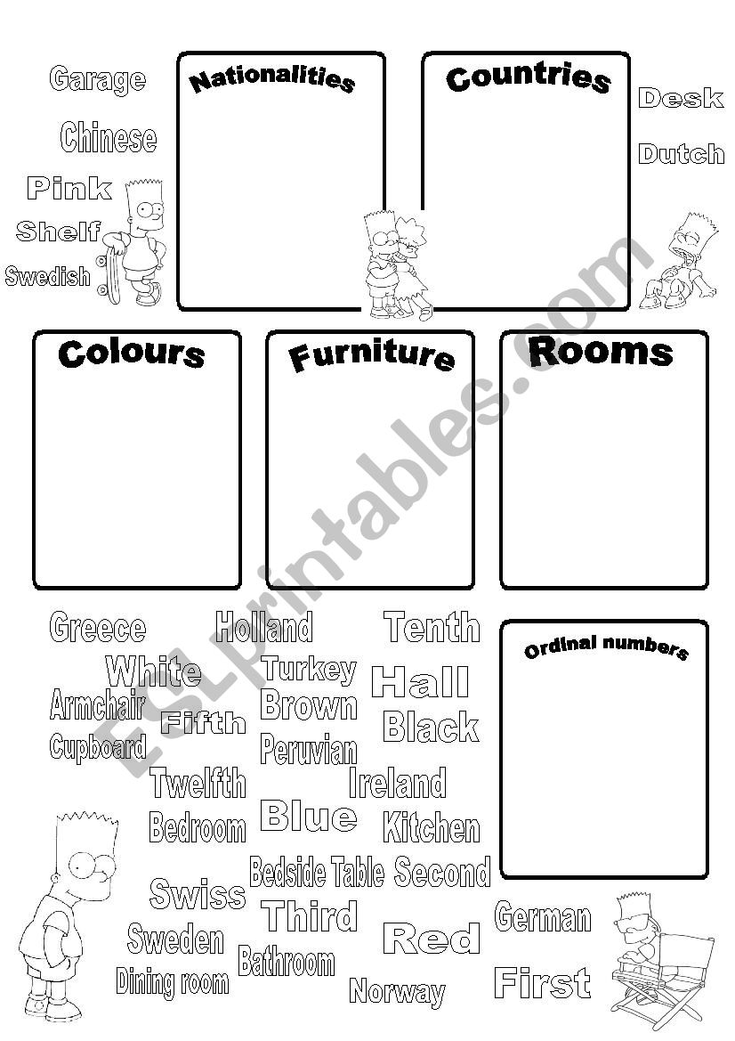 Vocabulary Practice: Nationalities, Countries, Colours, Furniture, Rooms, Ordinal Numbers