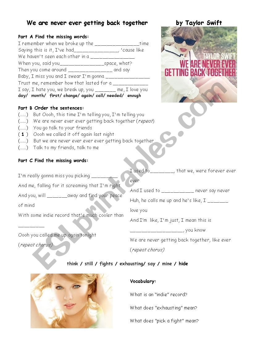We Are Never Ever Getting Back Together By Taylor Swift Esl Worksheet By Piet88