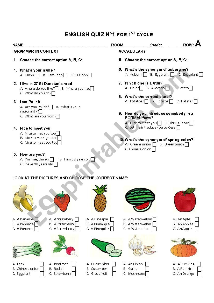 English worksheets quiz based on common questions greetings quiz based on common questions greetings synonyms fruit and vegetables row a m4hsunfo