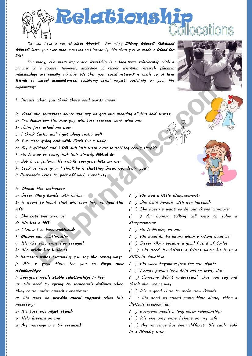 Friendship Collocations worksheet